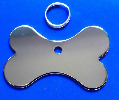 Pet ID Tag Quality Chrome Dog Bone Tags, Reflective Mirror Finish, ENGRAVED FREE