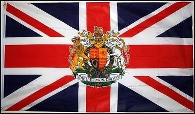 5' x 3' Union Jack with Royal Crest Flag Queens 90th Birthday Royalty Banner