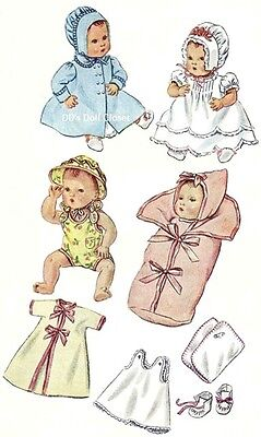 """Vintage Doll Clothes Pattern 2537 - 11"""" ~ Layette for Baby Dolls with Bunting"""