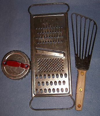 3 lot BROMCO GRATER Potato Whisk Biscuit Cutter vintage whip handheld utensils