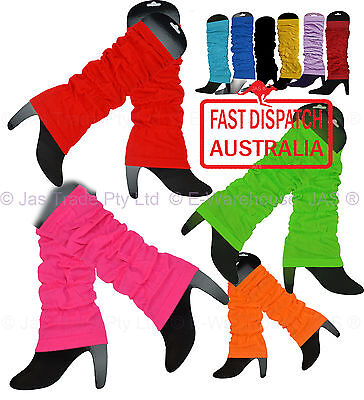 80s disco punk dance costume NEON FLURO Leg Ankle Knee Arm Warmers Many Colours