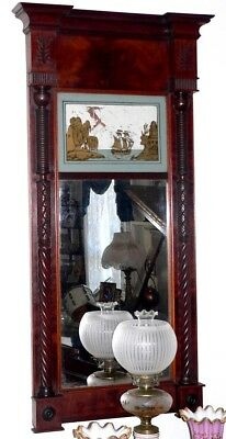 "c1820 Federal/Sheraton mirror, looking glass, label,New York, F Stoppani, 50"" t,"