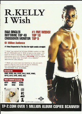 R. KELLY I wish TRADE AD POSTER for TP 2 Com CD 2000 MINT r Kelly