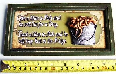 "Funny '3D' Real Wooden Antique Style Sign ""give A Man A Fish"" ~ Free Post"