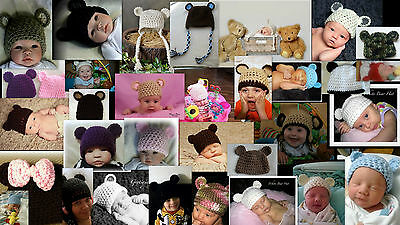 Crocheted Teddy Bear Hats choose color and Many Sizes Photo Prop