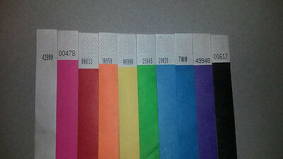 """100 3/4"""" Tyvek Wristbands - Choose from 10 Colors - Party Event Security Bar"""