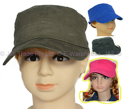Kid Baseball Army Cadet Cap Sun Hat Cotton Adjustable Olive Green Navy Hot Pink