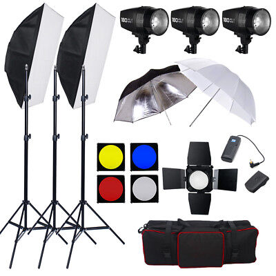 AU 3x Photo Studio Strobe Flash Lighting Kit Set Stand Softbox Umbrella Soft
