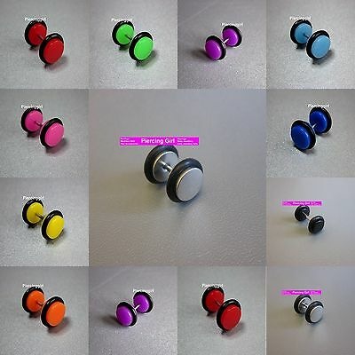 Fake Cheater Plugs Ear Plugs Earrings available in 8 colours & 6mm / 8mm / 10mm