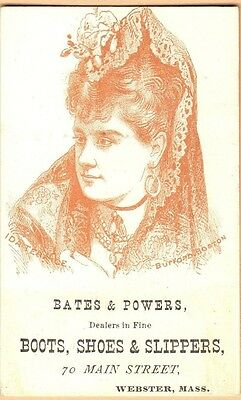 Victorian Trade Card-Bates & Powers Shoes-Webster, MA-Ida Terance
