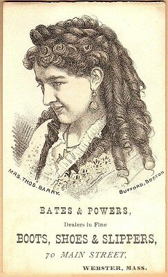 Victorian Trade Card-Bates & Powers Shoes-Webster, MA-Mrs Thomas Barry