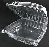 25 CLEAR Plastic Food To Go Containers 1-Compartment Hinged 9x9x3 Cookie Favor
