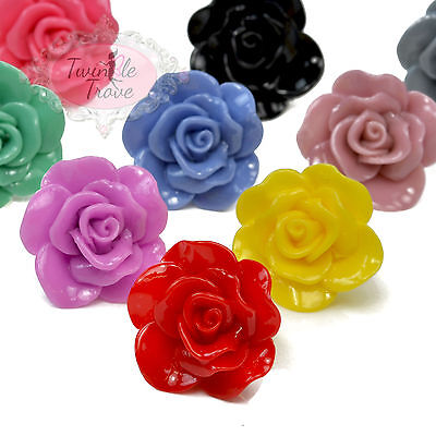 Large Oversized Carved Flower Rose Ring. Vintage, Boho, Kitsch Style. 5 Colours