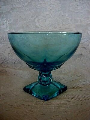 Vintage HAZEL ATLAS Moroccan Square Turquoise Blue Glass Compote/Footed Bowl