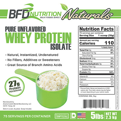 5lb Pure Whey Protein Isolate - BFDNutrition