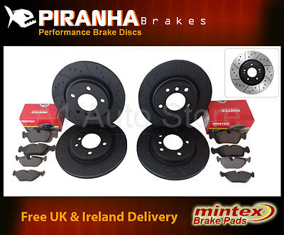 Fiat Stilo 1.6 16v 02-05 Front Rear Brake Discs Black DimpledGrooved Mintex Pads
