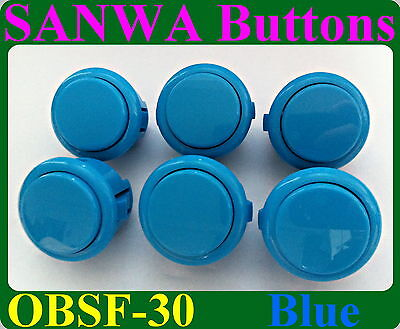 6pcs / kits Sanwa Push Buttons OBSF-30 for Arcade Jamma Games parts ( Blue )