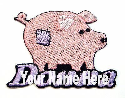 Custom Iron-on Primitive Patchwork Pig Patch With Name Personalized Free