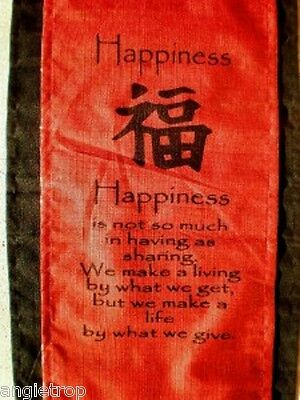 Happiness Wall Hanging Affirmation Banner Wall Hanging Red & Black Balinese Bali