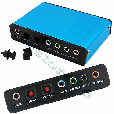 External USB 6 Channel 5.1 Sound Card Adapter SPDIF Optical PC Audio Converter