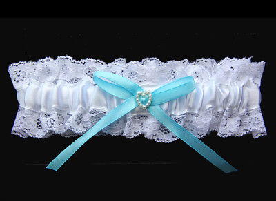 Bridal Wedding Garter White with Blue Bow and Pearl Heart Something Blue lace