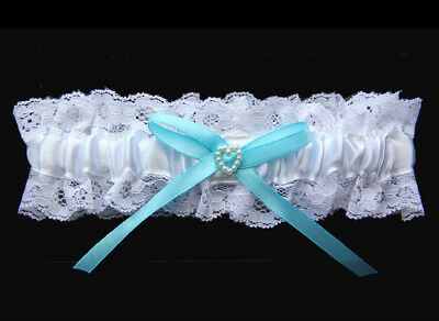 Bridal Wedding Garter White with Blue Bow and Pearl Heart