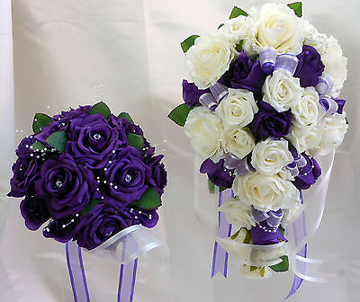 Wedding Bouquet Set  Purple & White Roses With Pearls & Diamantes