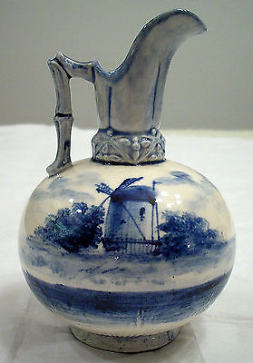 SMALL PORCELAIN BLUE AND WHITE DUTCH PITCHER HOLLAND HAND PAINTED