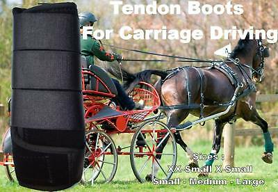 Horse Tendon Boots Black : Miniature To Horse Size Ideal For Carriage Driving