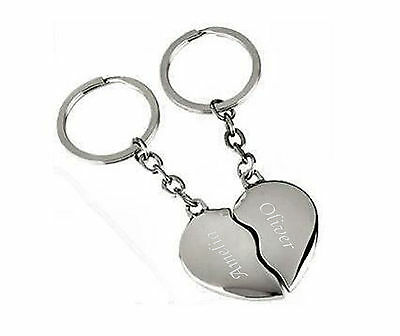 Personalised Together Forever Joining Heart Keyring Engraved With Names & Date