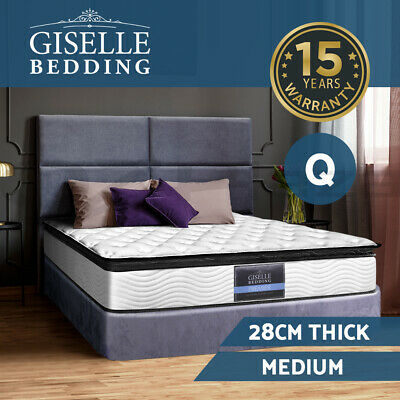 QUEEN Size Mattress Pillow Top 5 Zone Pocket Spring Bed Hige Density Foam 28CM