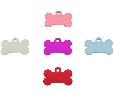Dog ID Tag PET Tags, 32mm Quality Dog Shaped Bone, ENGRAVED FREE,  in 5 Colours