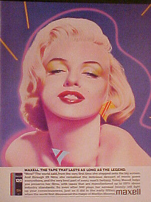 1986 Marilyn Monroe~Hollywood Movie Star Maxell Tapes Promo Art Print Trade Ad