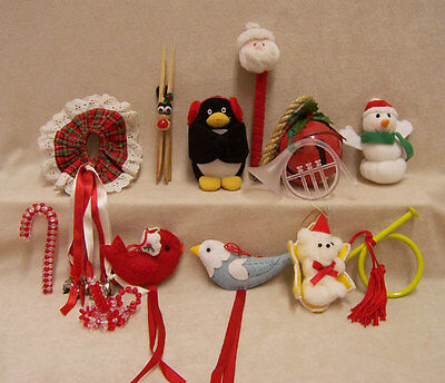 Lot of 13 Christmas Ornaments Decor and More Birds Bells Horns