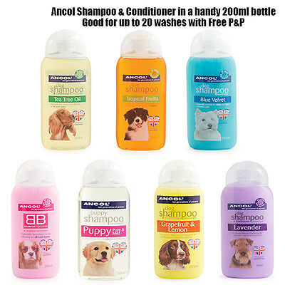 NEW Ancol Dog Shampoo & Conditioner Almond Eucalyptus BB Tea Tree Tropical JTB