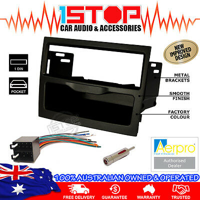 Holden Commodore Vy-Vz Black Single-Din Facia Fascia Kit Wiring Harness Adapter