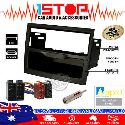 Vy-Vz Commodore Black Single-Din Facia Fascia Kit + Iso Wiring Harness + Adapter