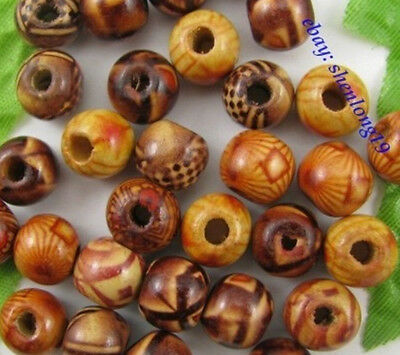 FREE SHIP! 100Pcs Mixed Color Wood Round Charms Loose Spacer Beads 10MM E265
