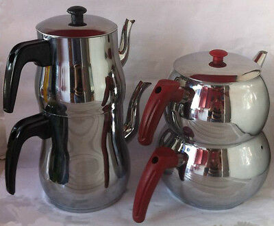 Traditional Teapot, Stainless Steel, Caydanlik,Turkish Double Kettles, XS,S,M,L