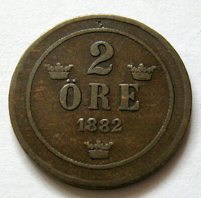 Sweden 2 Ore coin 1882 KM#746 nice