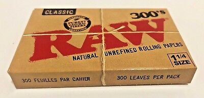 """Raw 300's Classic Natural UnRefined Rolling Papers 1.25""""  **Free Shipping**"""