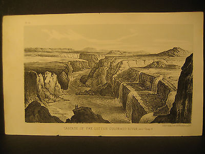 "R. H. Kern, "" Little Colorado River Cascade "", Litho 1854"