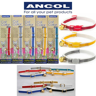 NEW Ancol Stretchy Safety Reflective Cat Collar Red Blue Green Yellow Silver JTB