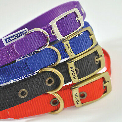 NEW Ancol Nylon Collar 8 Sizes Soft Strong Heritage Black Blue Red Purple Pink