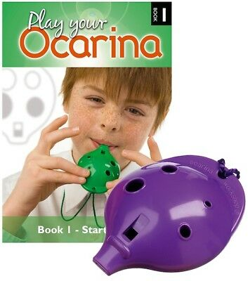 OCARINA SET - 4-hole plastic Ocarina and Book 1, six colours