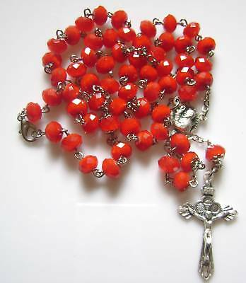 Red Beads Rosary & Italy Cross Necklace medal crucifix catholic Glass