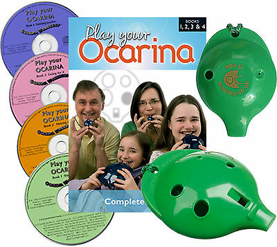 6-hole OCARINA (six colours) with COMPLETE Play your Ocarina Books 1-4 and 4 CDs