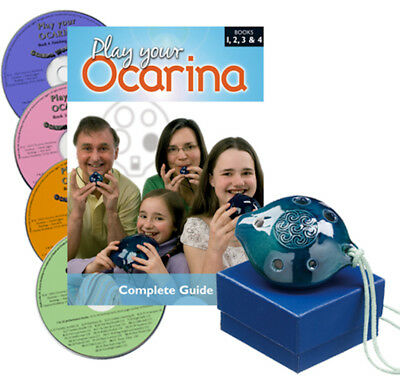 Langley Ceramic Alto OCARINA Set with COMPLETE Books 1 to 4, and 4 CDs