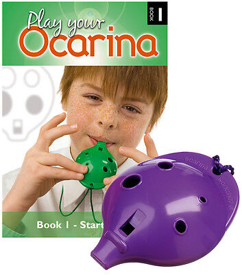 Plastic OCARINA, Purple 4-hole, and Play Your Ocarina BOOK 1, with FREE DELIVERY