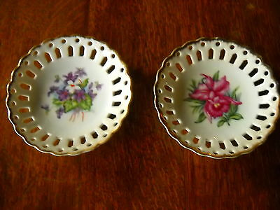 Pair of Napco Hand Painted Floral Design Hanging Dishes